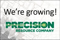 """We're growing"" banner with Precision logo."