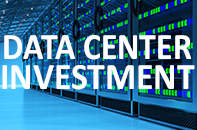 Data Center Investment with blue data center graphic background