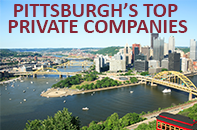 Pittsburgh city scene with Pittsburgh's Top Private Companies headline.